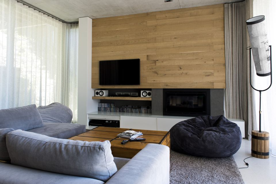Living room wood panels