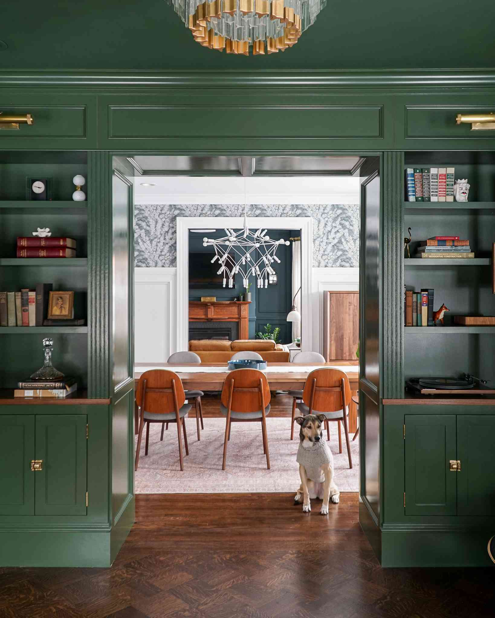 patterned dining room, green built in shelving