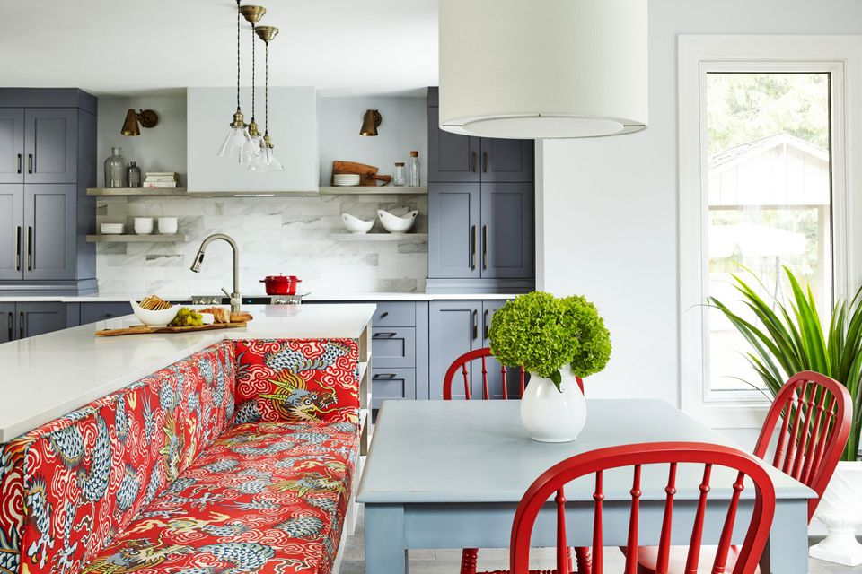 Red Dragon Fabric in Kitchen