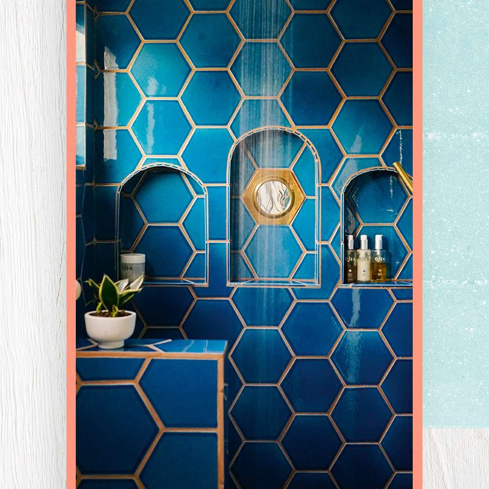 blue hexagon tile shower Justina Blakenly