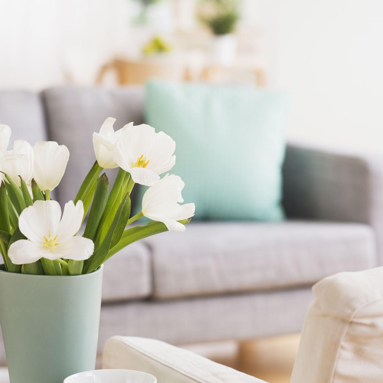Flores frescas en la sala de estar