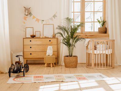 Chalet Baby Bedroom Interior with Cozy Cradle Bed