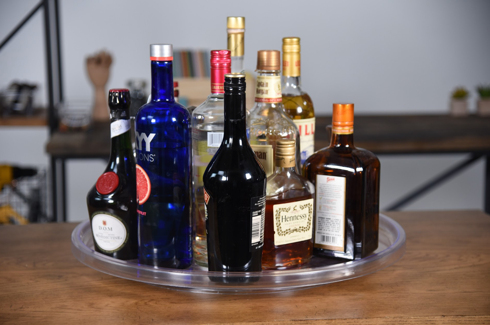 alcohol on a lazy susan