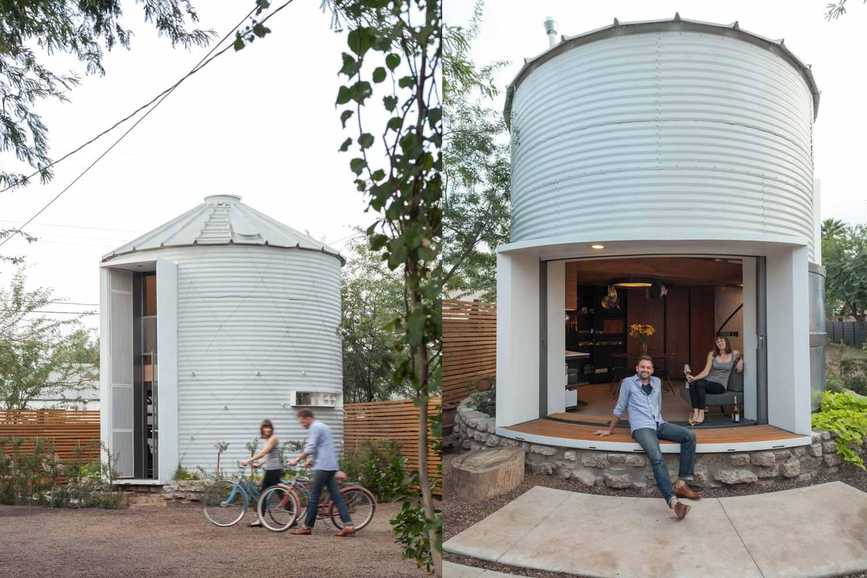 Grain Silo Home Exterior Couple