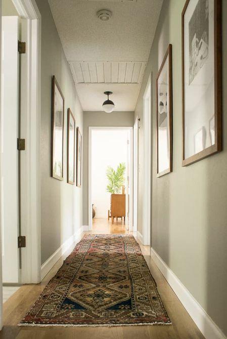 Pasillo largo y estrecho con alfombra de área