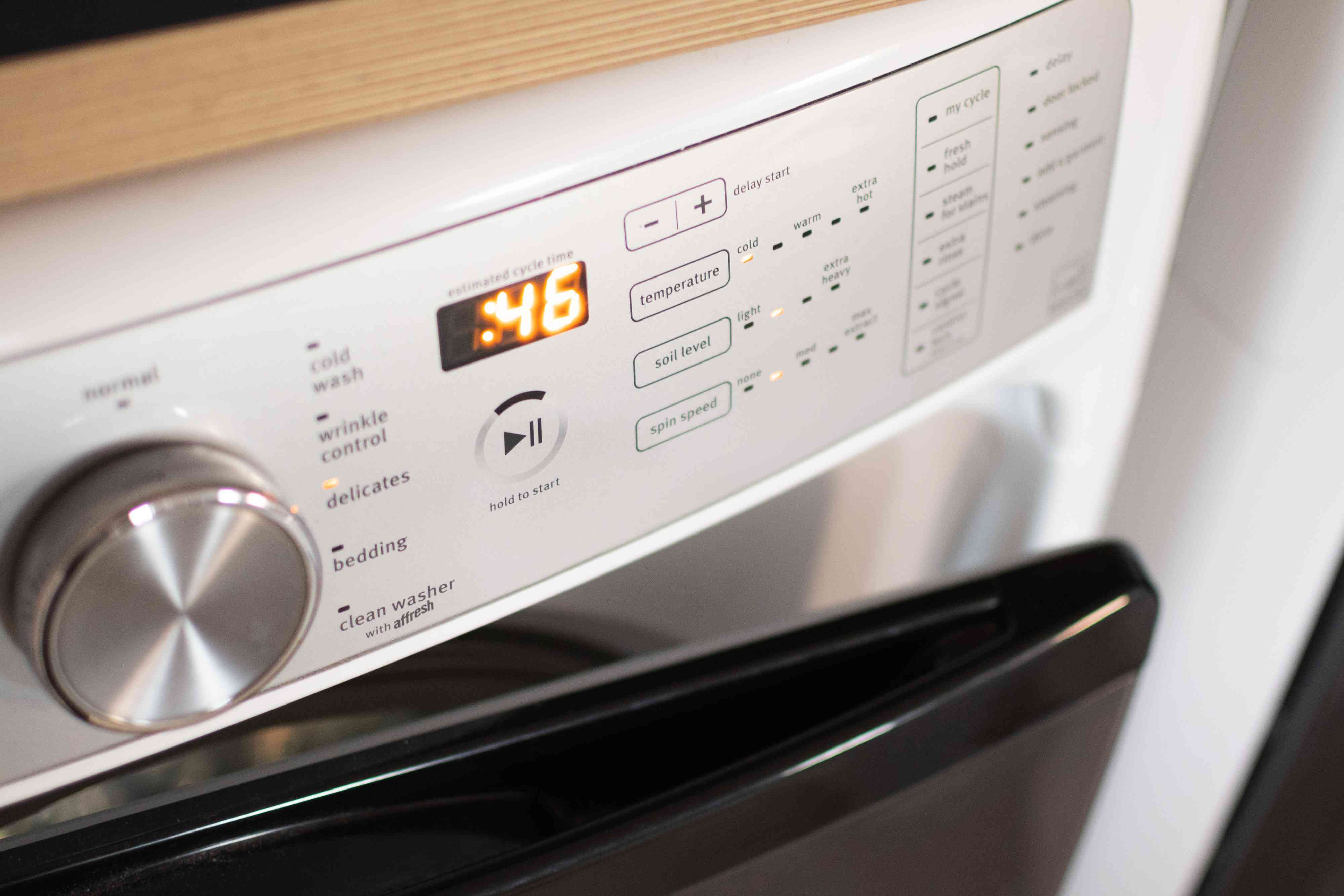 Washing machine set to gentle cycle for cleaning wool coat