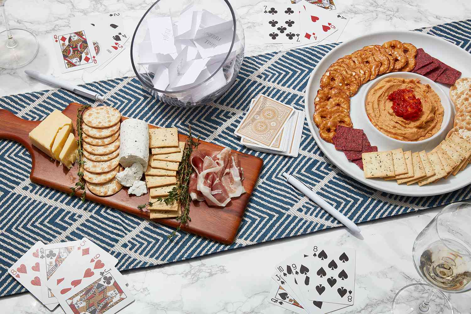 conversation cards, playing cards, and snacks