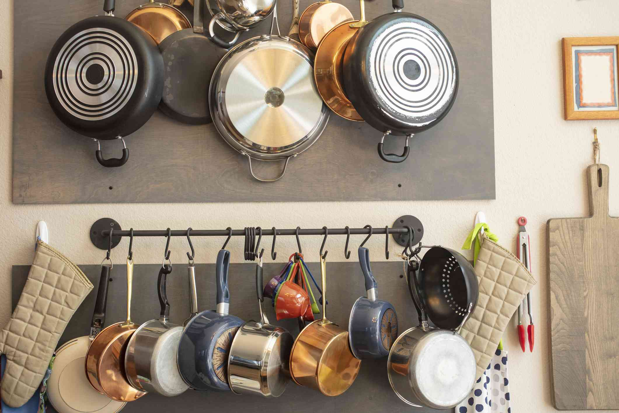 pans hanging from a rack