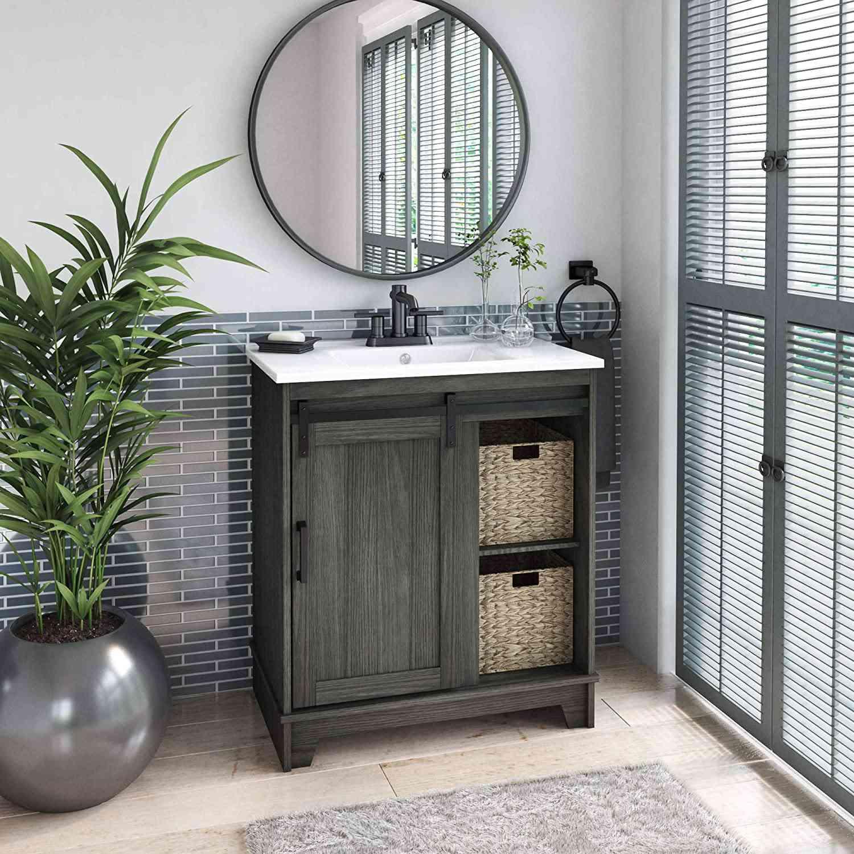 "Pamari Cassara 30"" Single Bathroom Vanity with Sliding Barn Door"