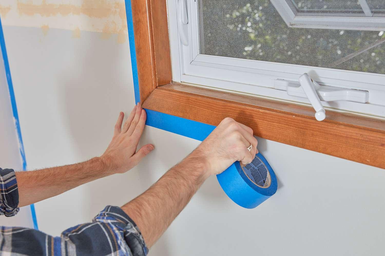 Tape wall around window trim