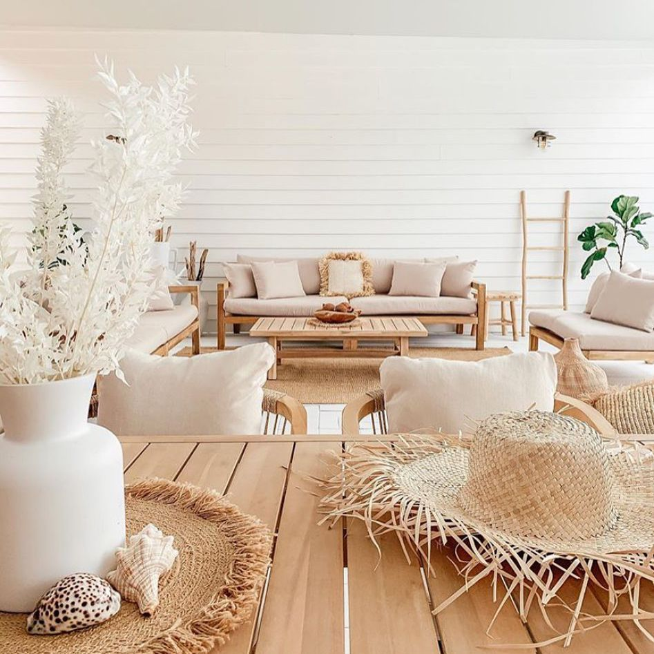Living room with beachy vibe