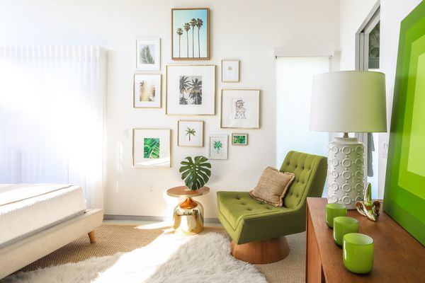 Gallery wall, metallic accents, green hues, and sheepskin rugs are just a few of the trends designers are still loving