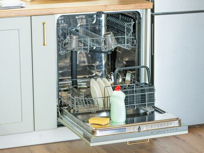 preparing to clean a dishwasher