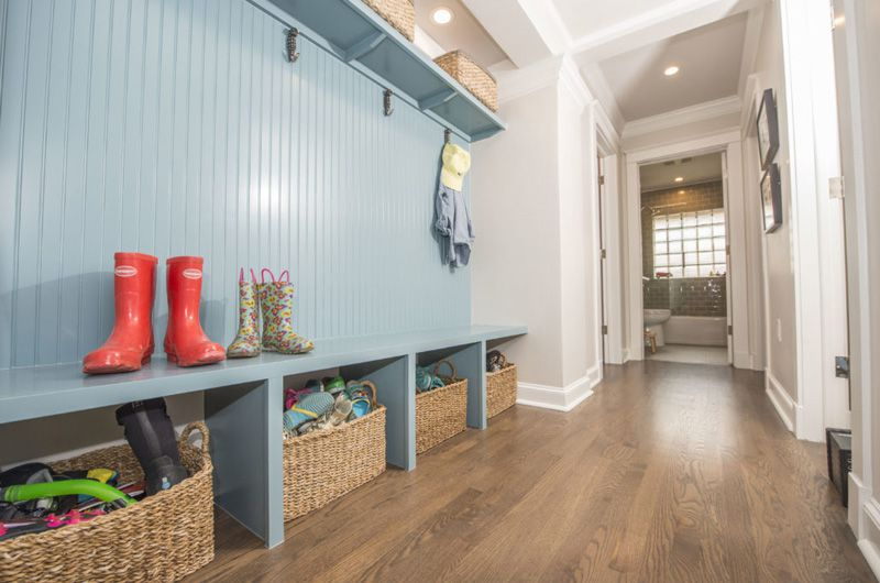 built-in mudroom bench with blue beadboard