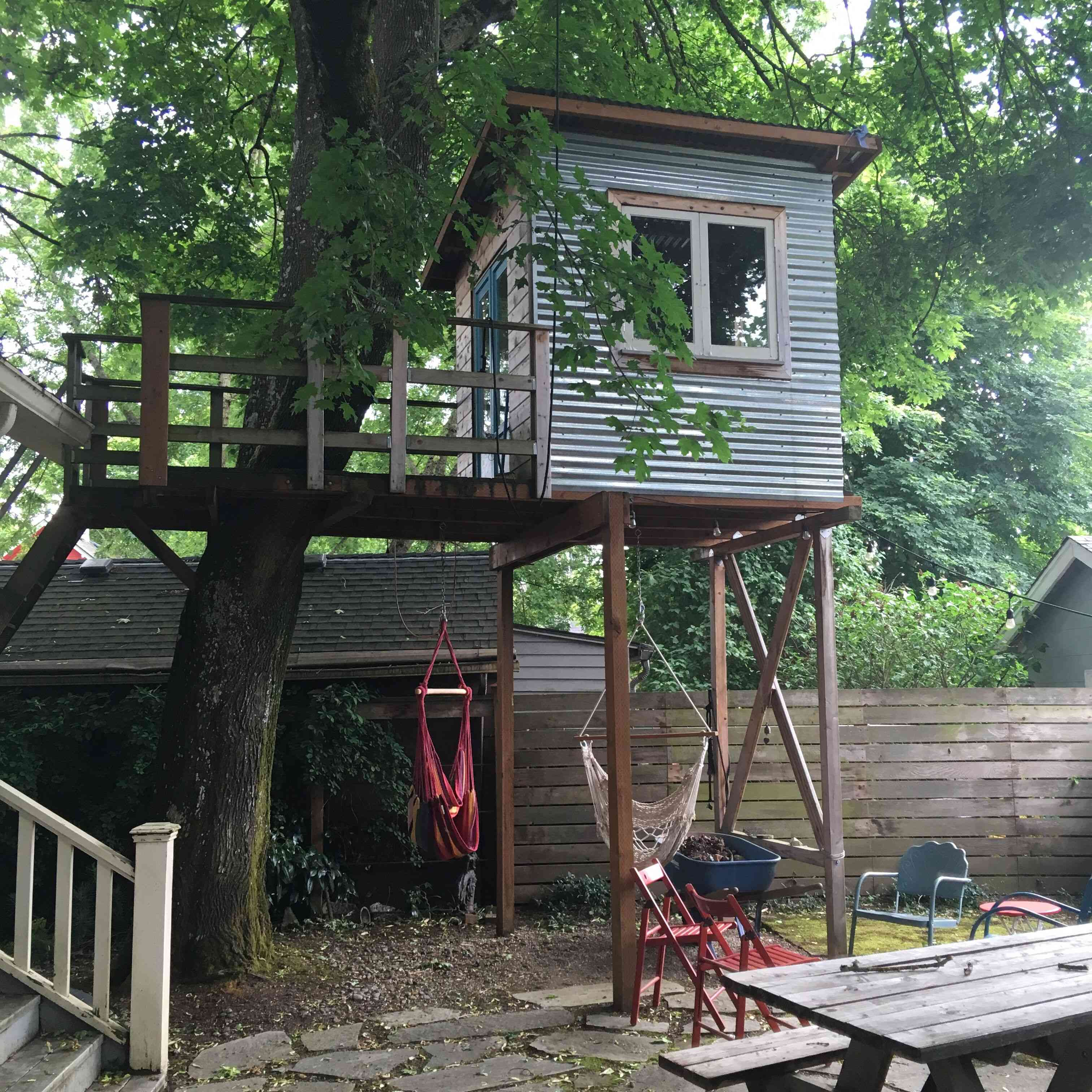 Tree house in the backyard
