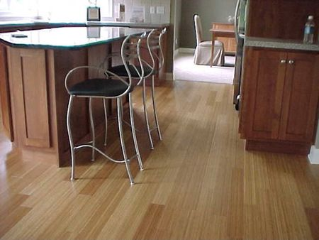 A Bamboo Floor In An Open Kitchen