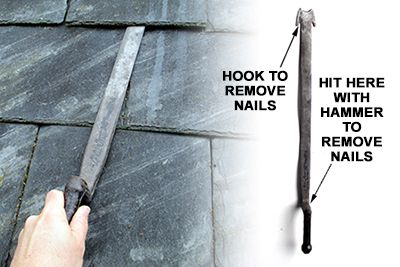 The proper way to remove a roof slate tile utilizing a slate ripper.