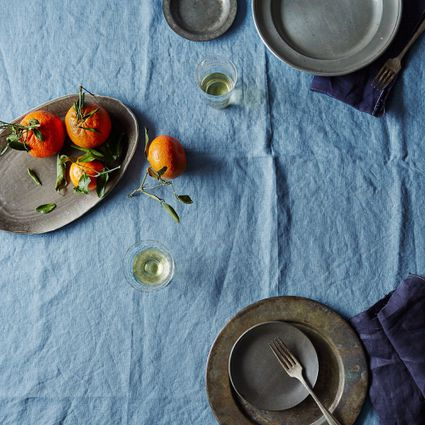 linen tablecloth on table