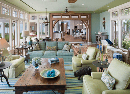 Eclectic Traditional Green Living Room