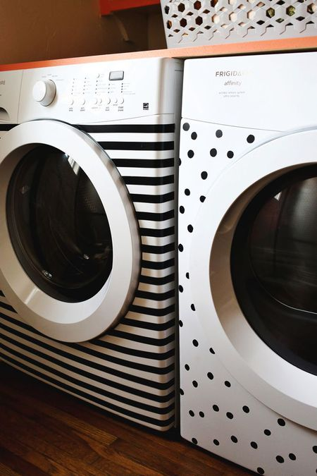 DIY Washer And Dryer Stripes And Dots Makeover