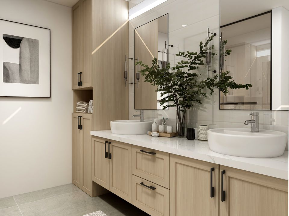 modern bathroom with wood vanity and black accents