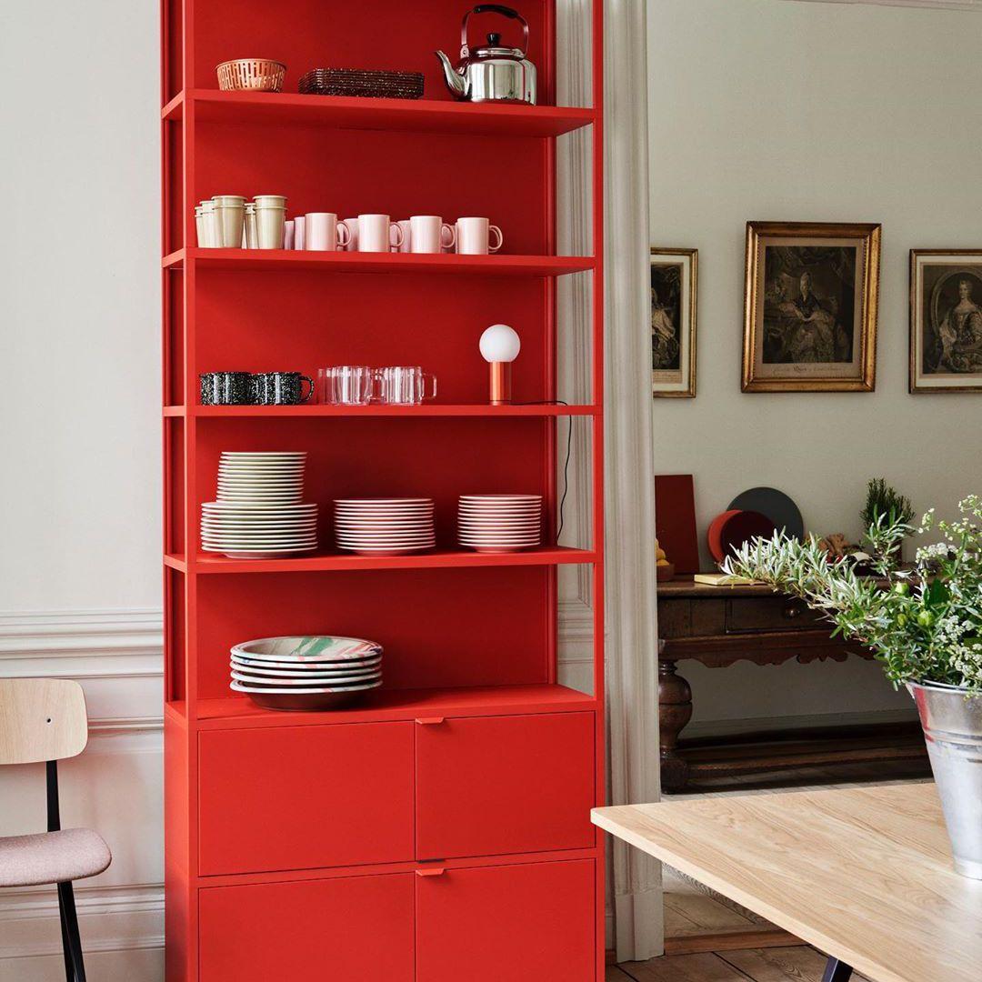 Bright red bookcase