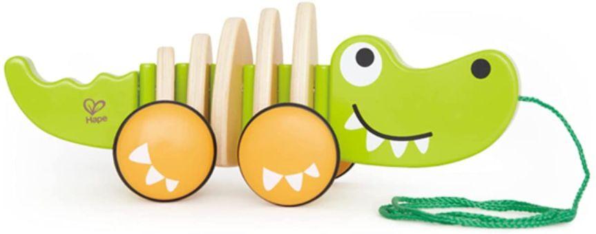 Hape Walk-A-Long Croc Toddler Wooden Pull Along Toy