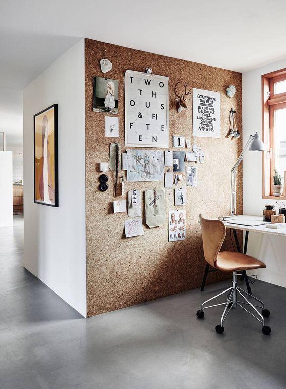 oficina de pared de corcho