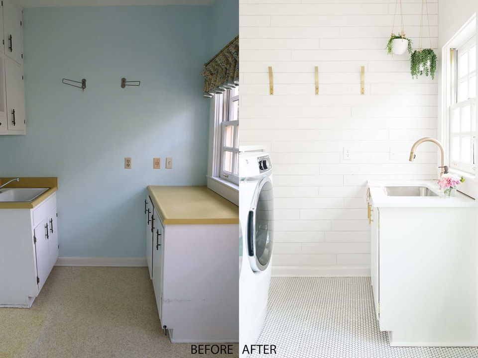 Laundry room before and after.