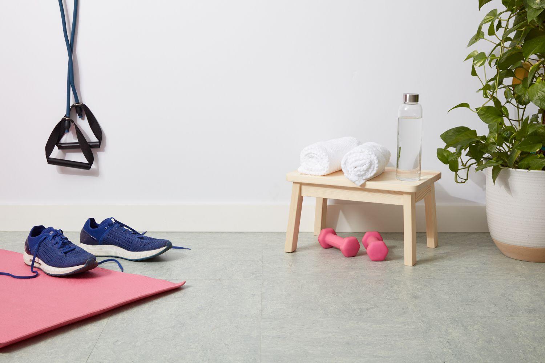 Linoleum gym floor