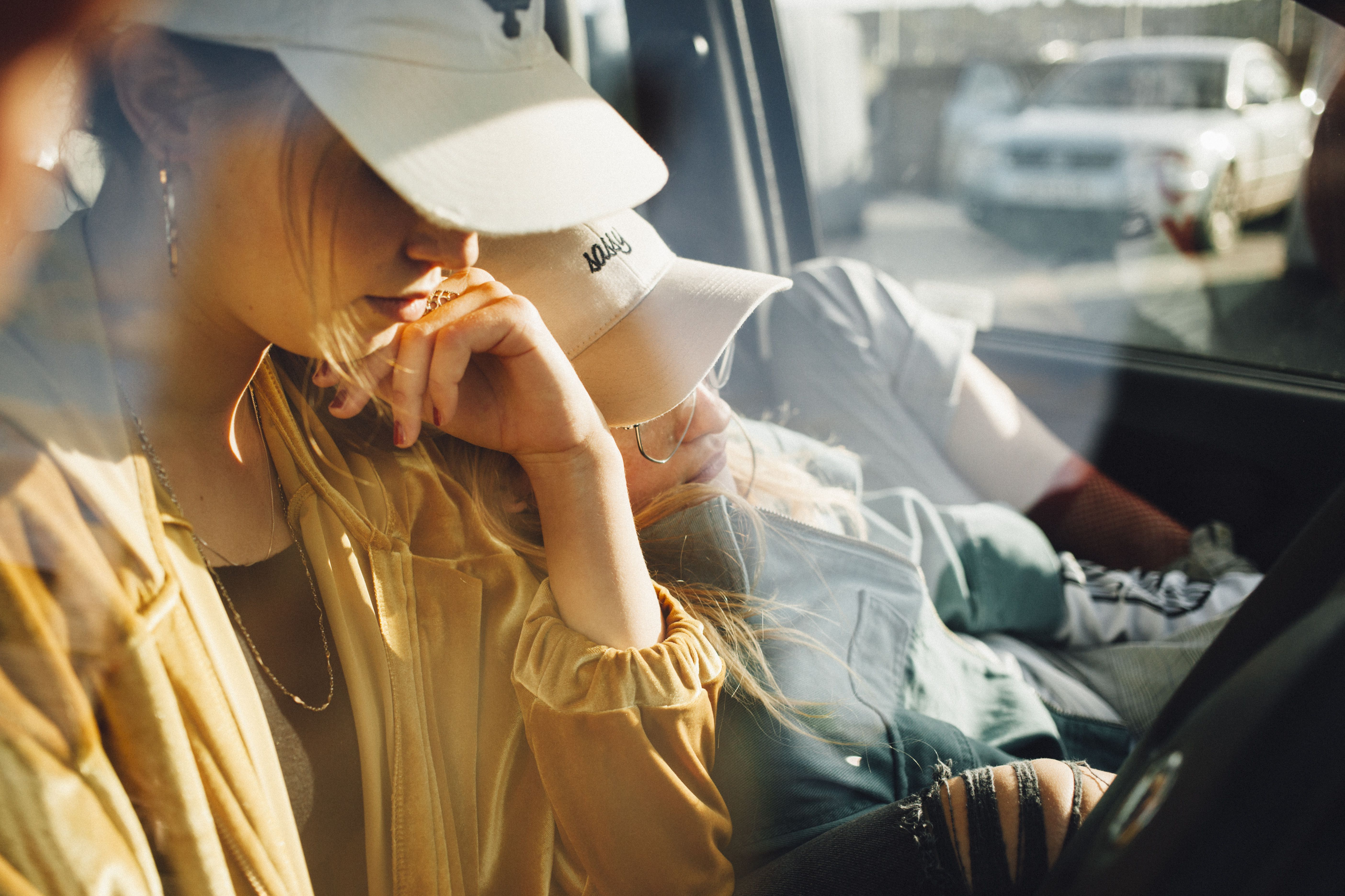Teenage girls in car