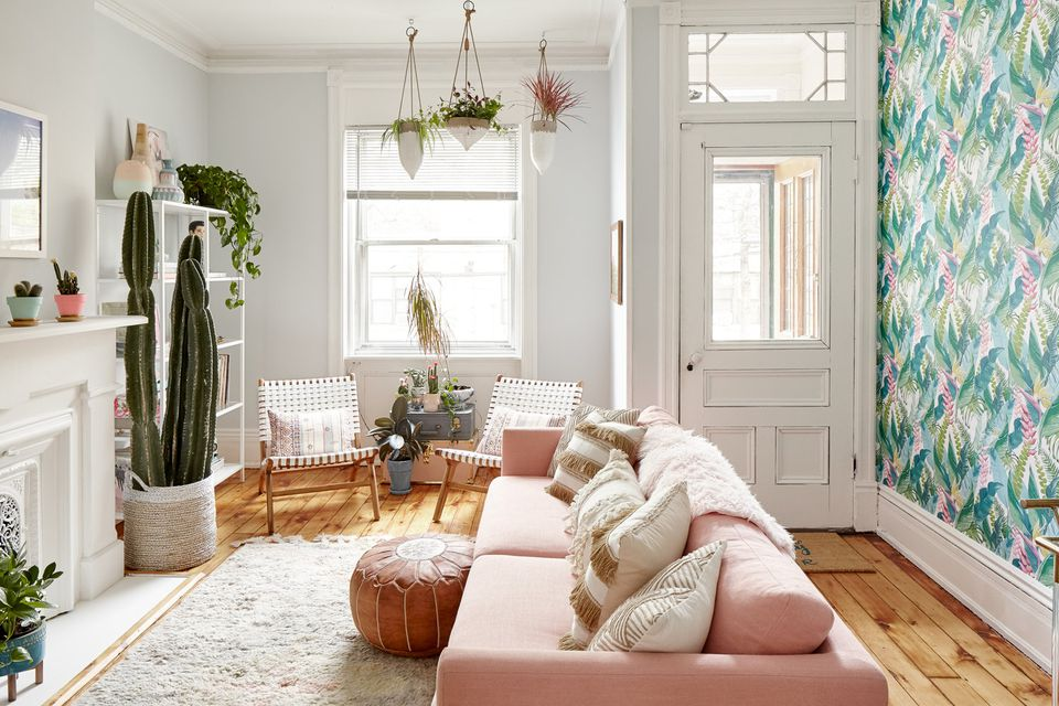 Pretty pink simple living room