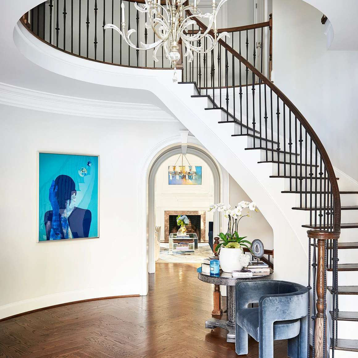 neutral wall with vibrant large art piece