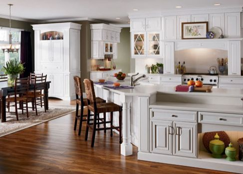 White Kitchen with Real Solid Wood Flooring
