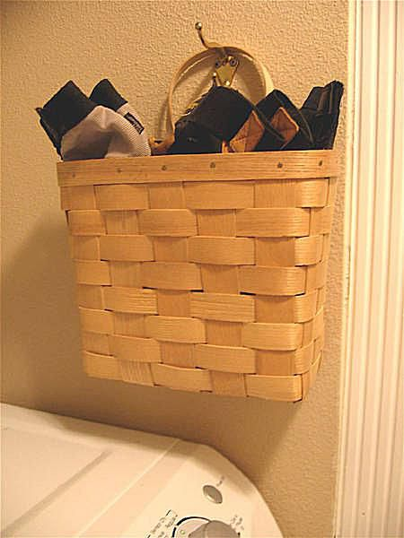 Using basket to hold laundry items
