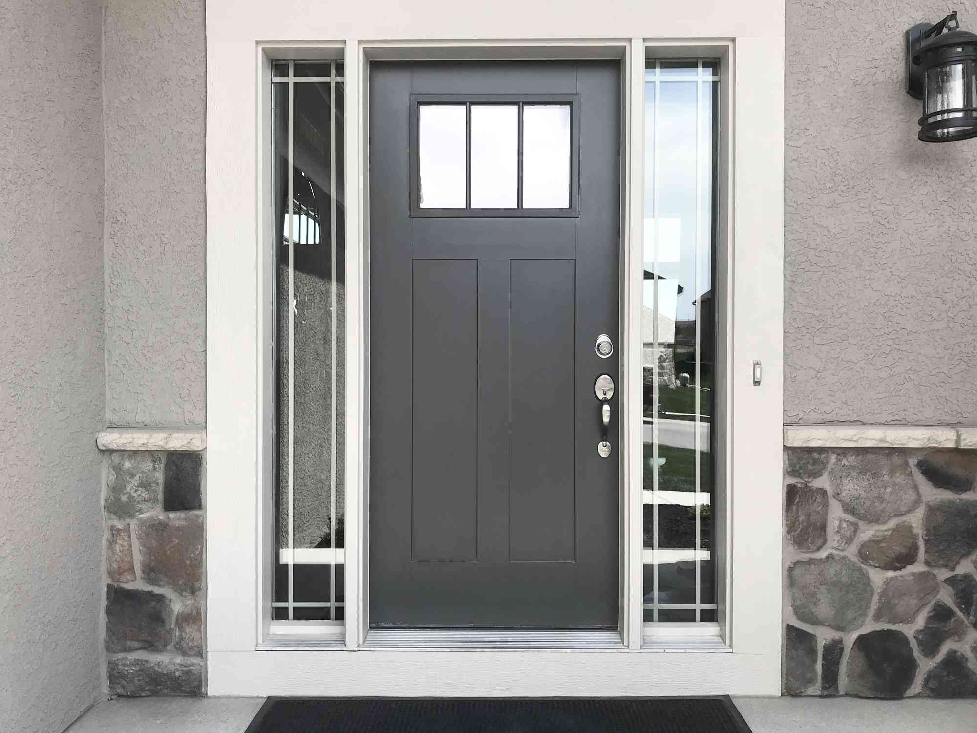 Gray front door on a house