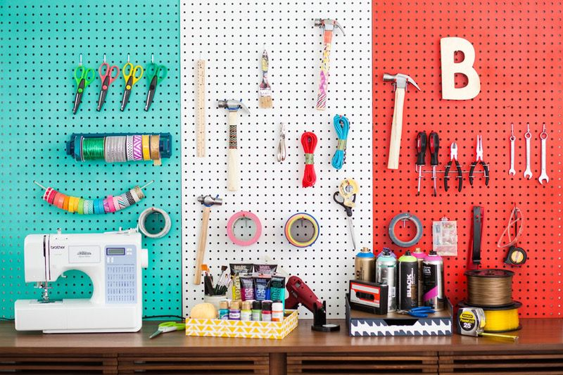Store little things on a pegboard