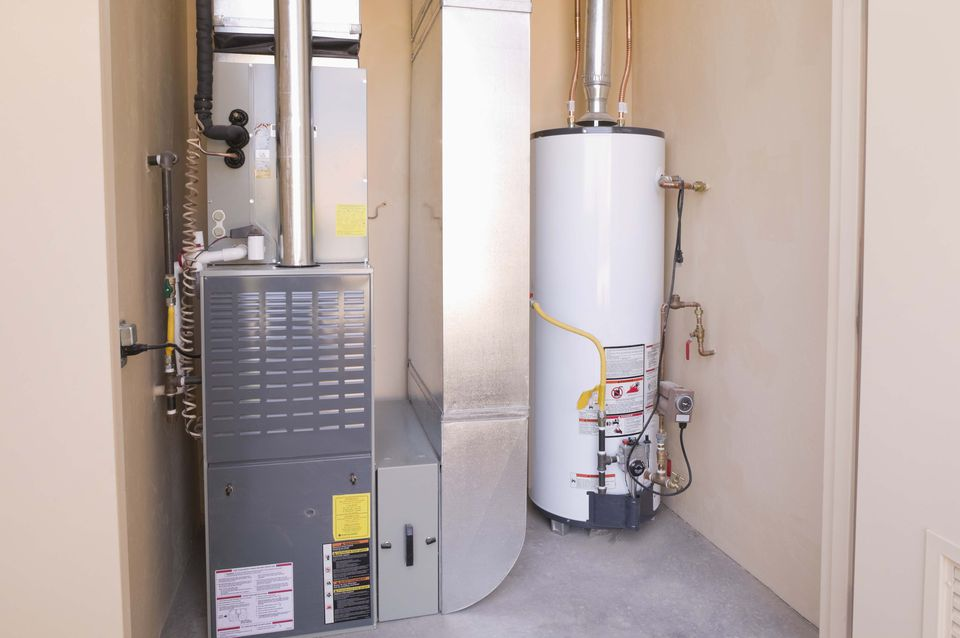 Furnace and hot water heater in a basement