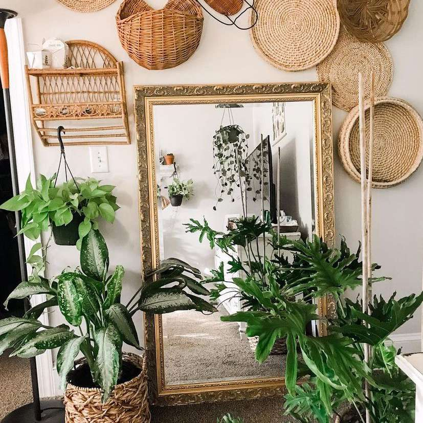 Baskets hanging over a mirror