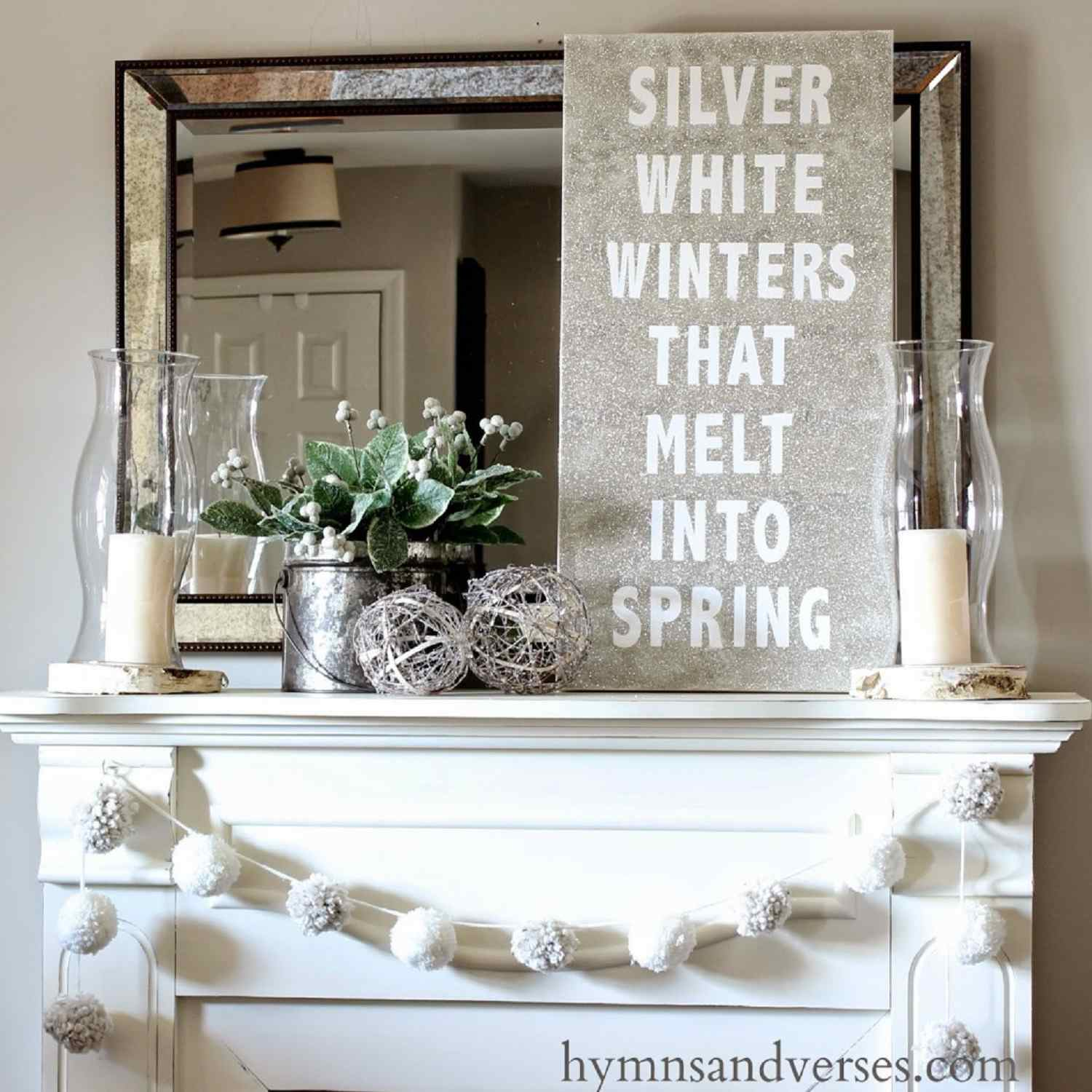 winter mantle with DIY decor