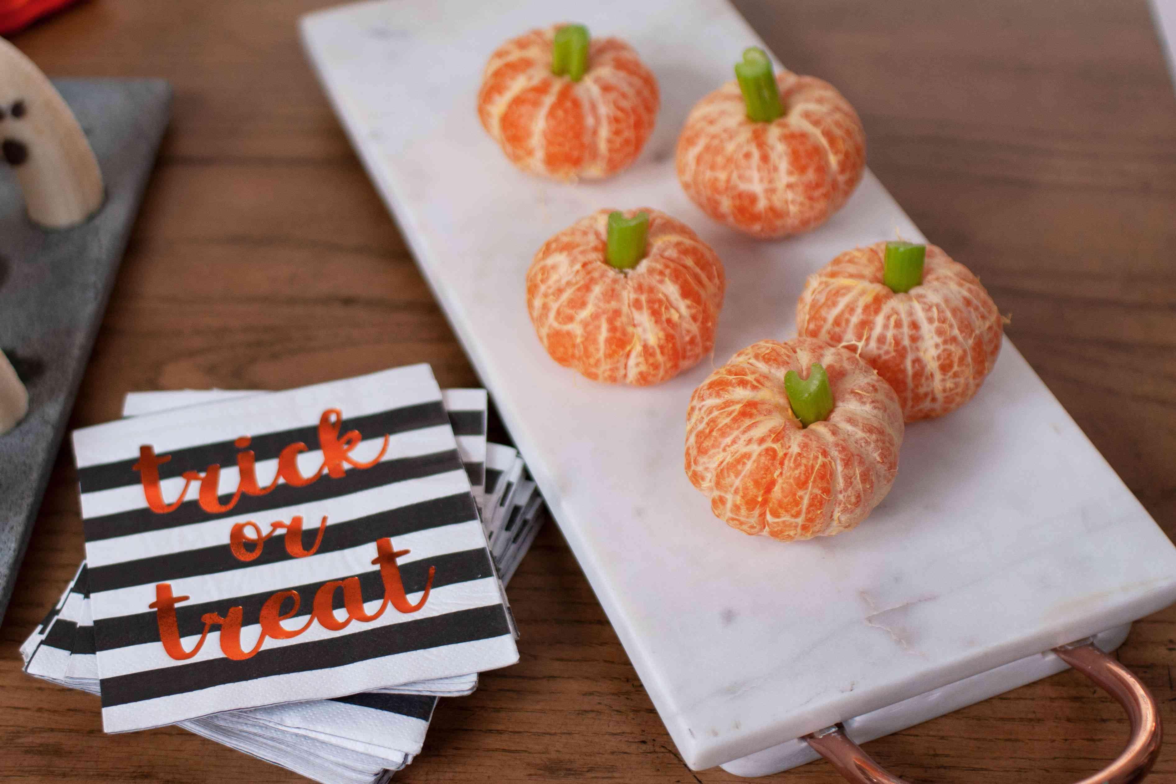 Pumpkins made of oranges and celery
