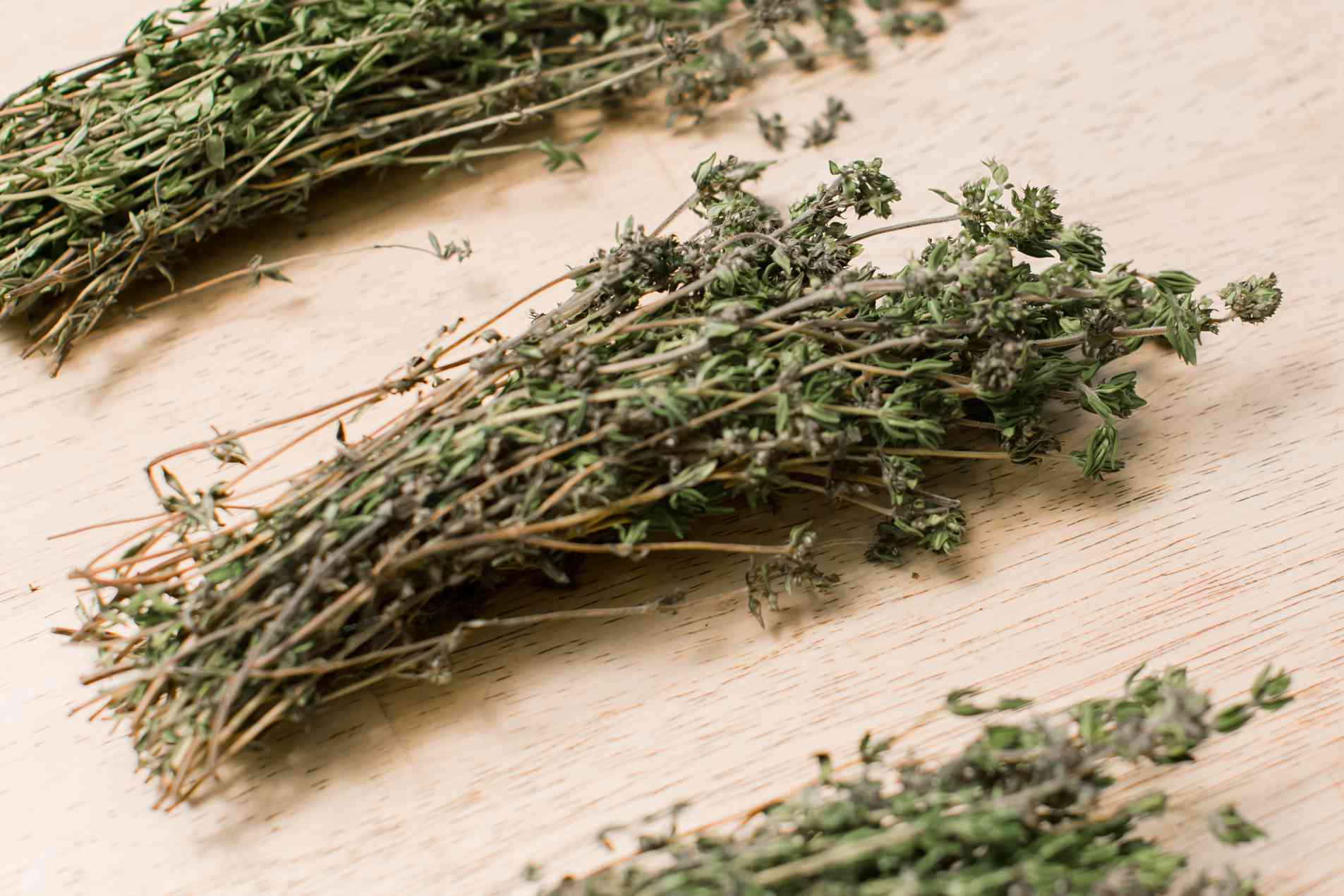 bundles of dried thyme