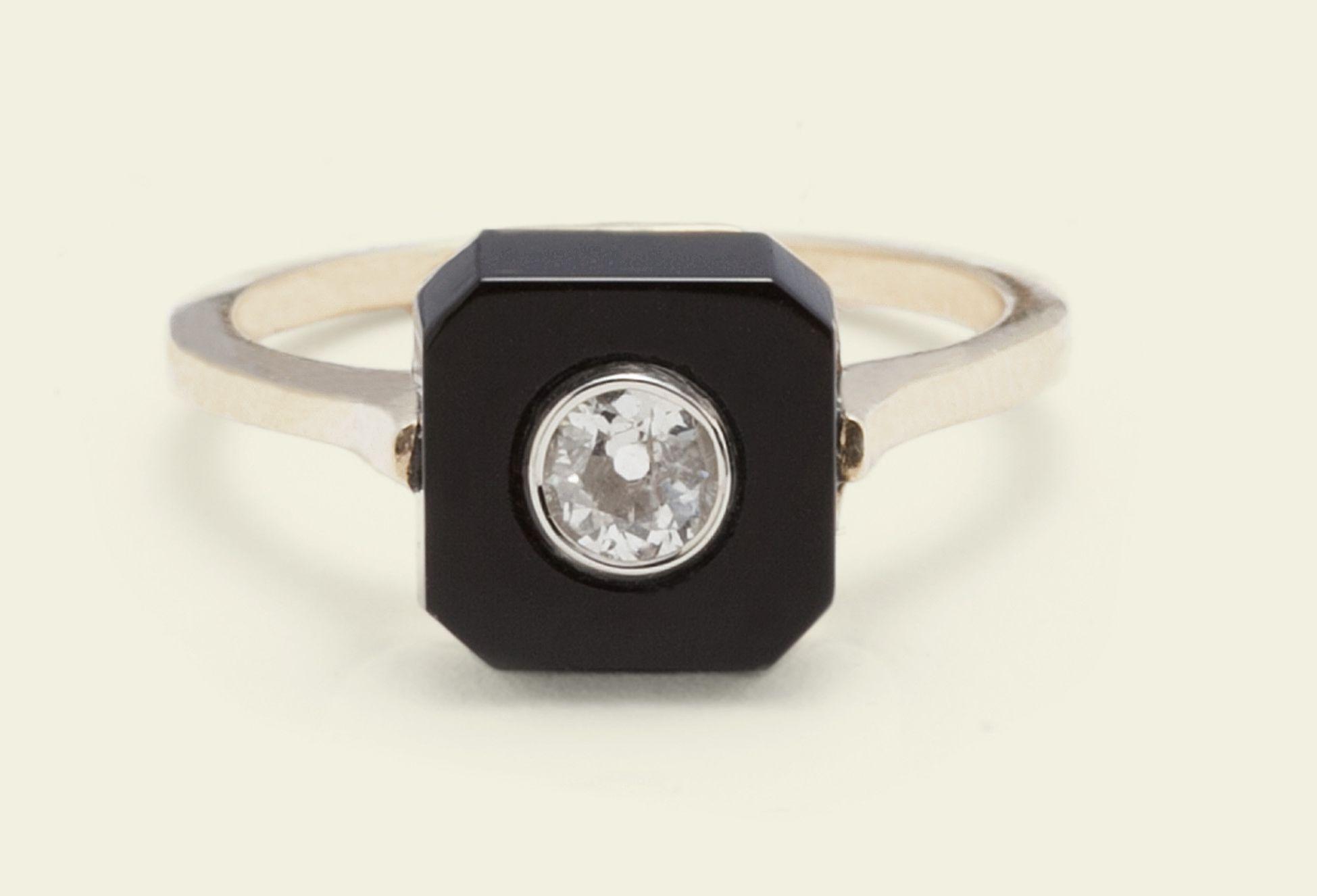 Ónix de Erica Weiner, diamante y Anillo de oro de 14k