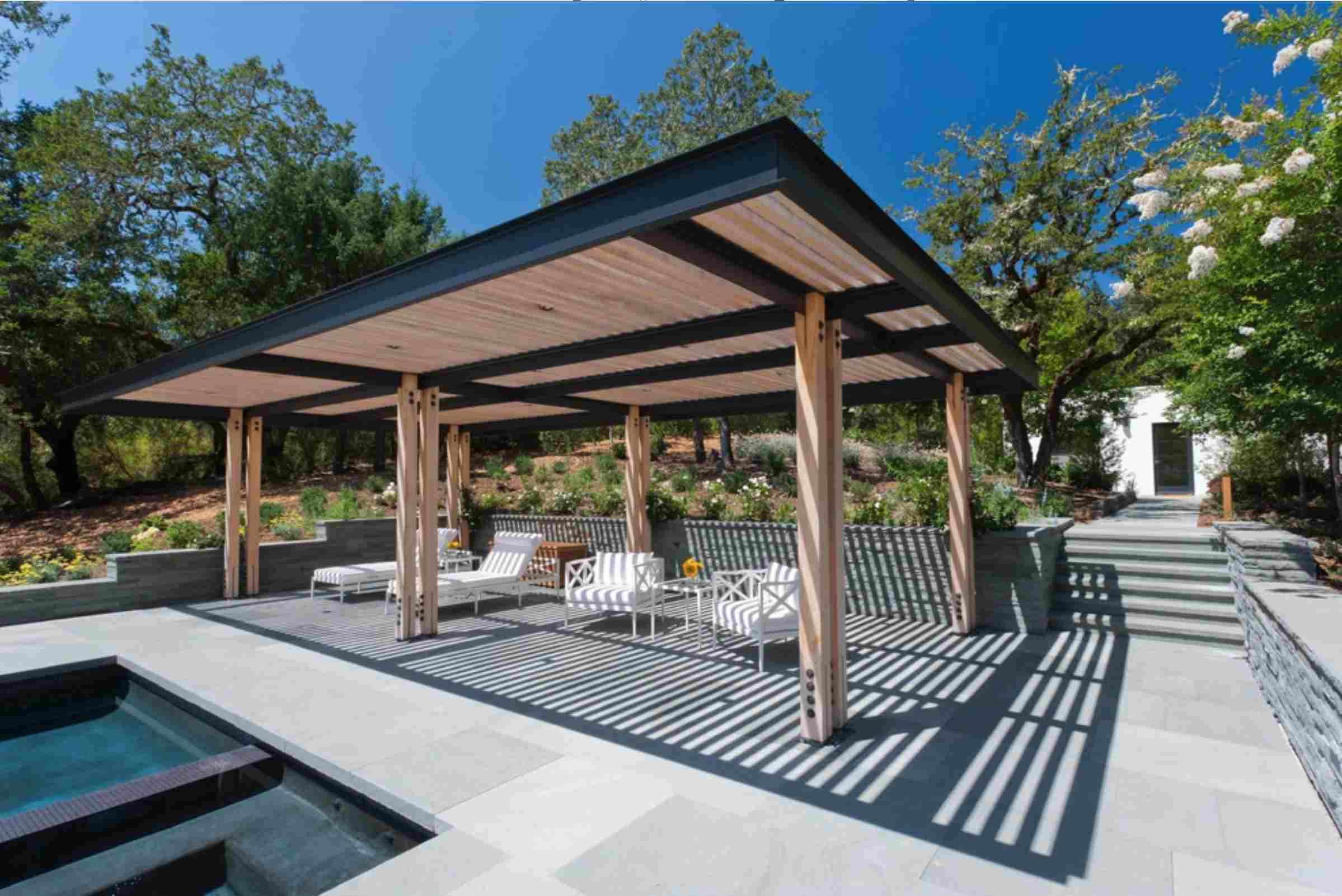 covered patio with lawn furniture