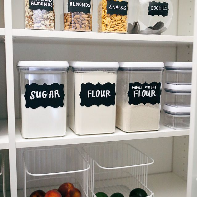 DIY pantry labels on several containers