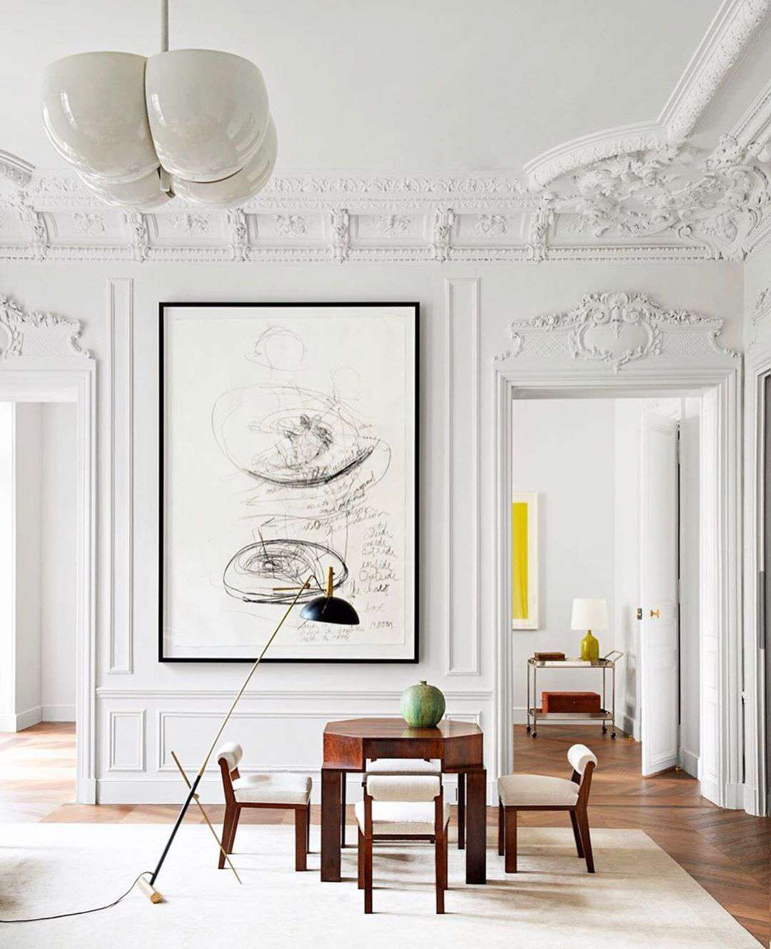 White living room with table