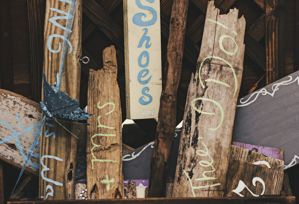 Group of Handmade Rustic Wood Signs for a Wedding