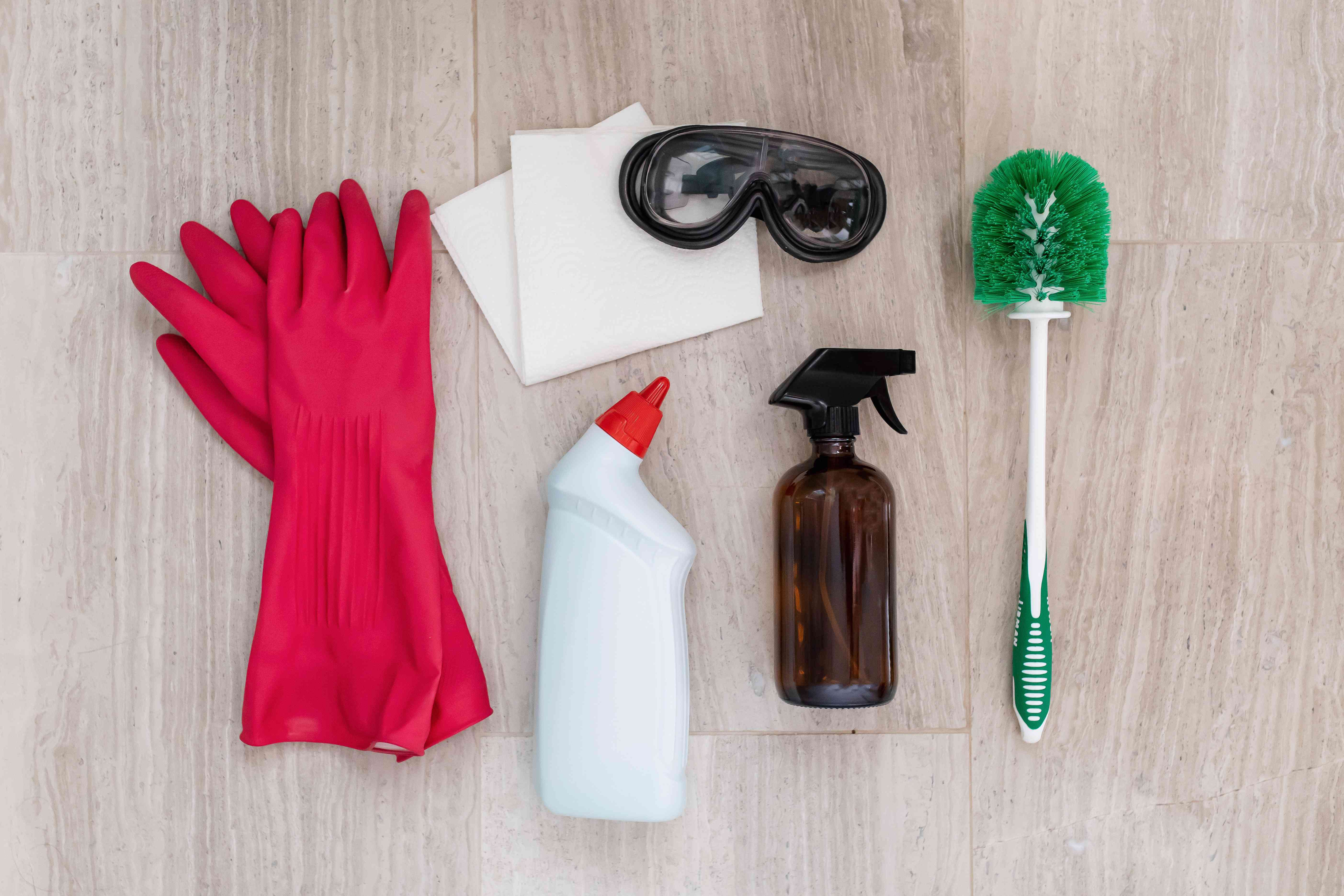 Supplies to effectively clean a toilet