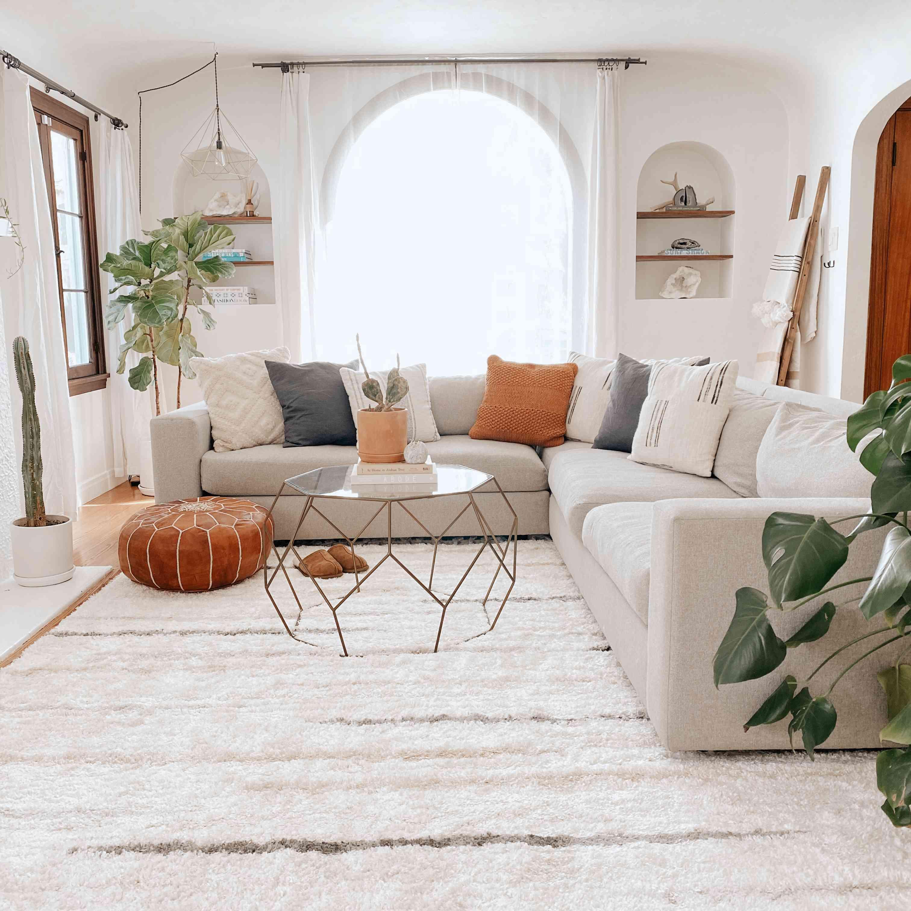 Boho living room with cozy shag rug