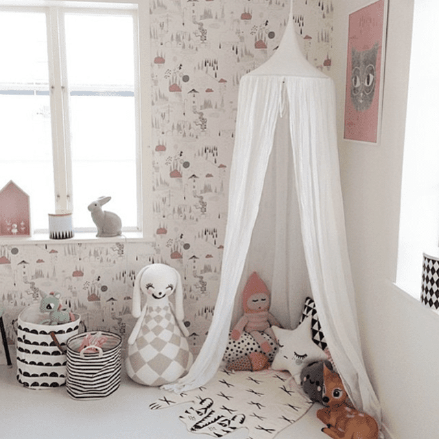 Nordic-inspired girl's room with graphic patterns